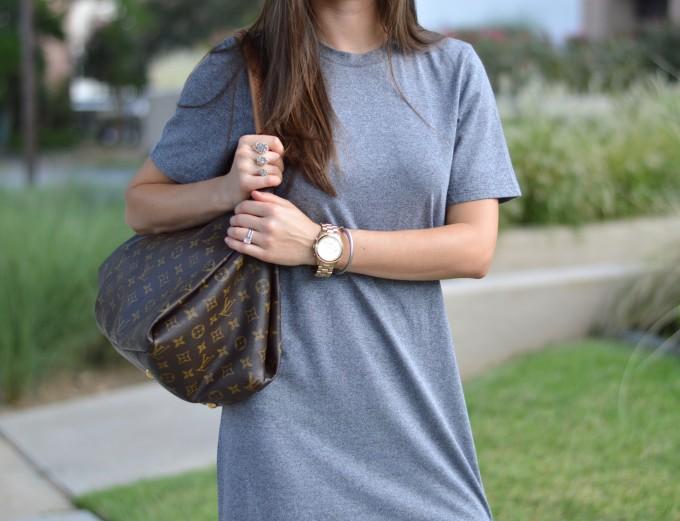 Louis Vuitton tote bag, gray t-shirt dress, boyfriend watch