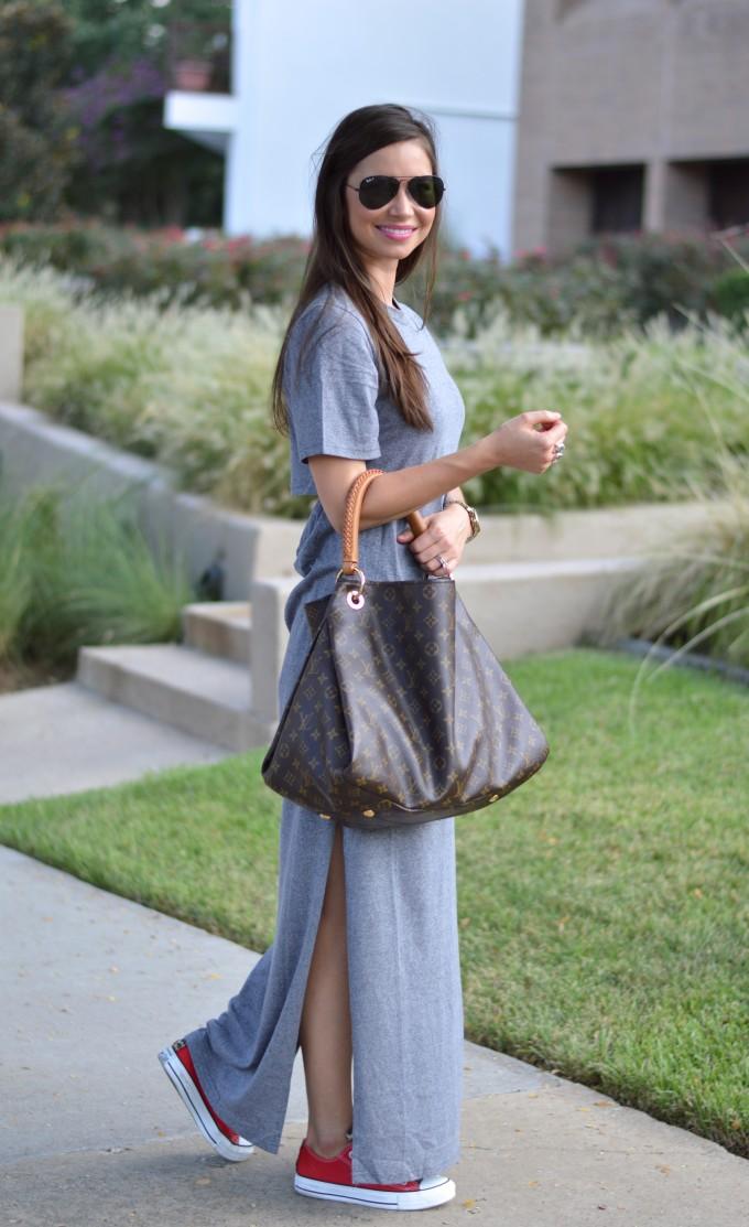 gray t-shirt dress, comfortable and stylish dress, maxi dress