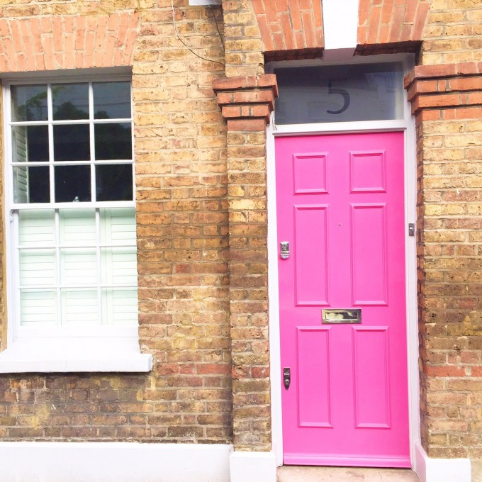 cute hot pink door in London