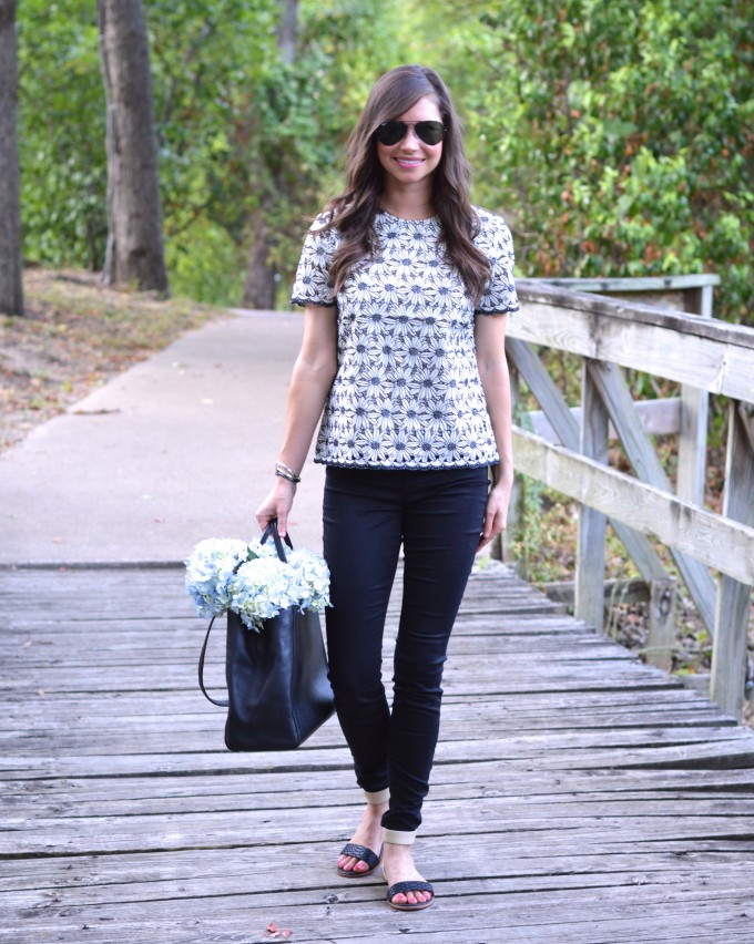 lace for fall, winter white and black top, lace top, fall floral
