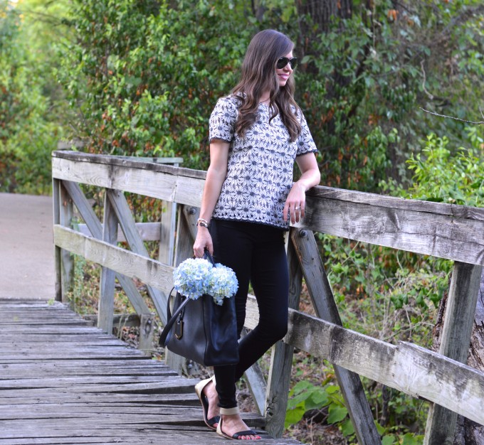 fall floral, lace for fall, winter white and black top, casual weekend style