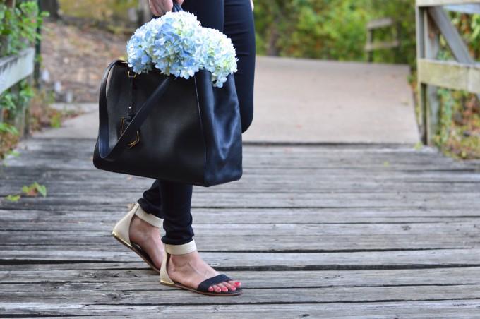 ankle strap sandals, lace for fall, Fendi tote bag, black Fendi bag