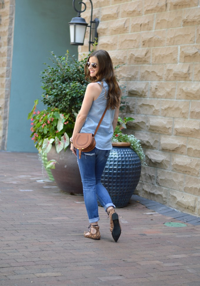 leopard flats under $50, cognac cross body bag, Chloe Marcie bag, casual style for fall transition
