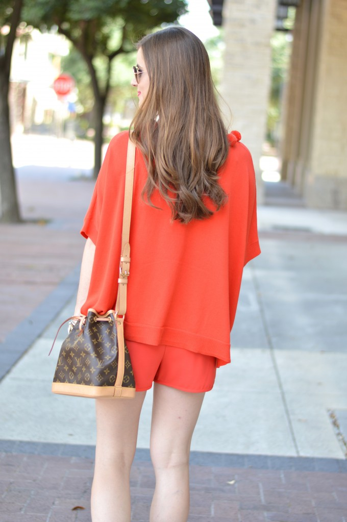 monochromatic look, fall transitional style, beach waves, Louis Vuitton cross body bag