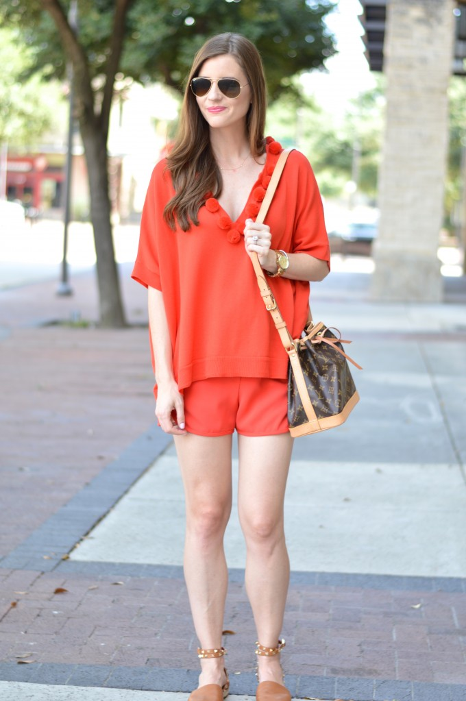 matching separates, monochromatic look, red separates
