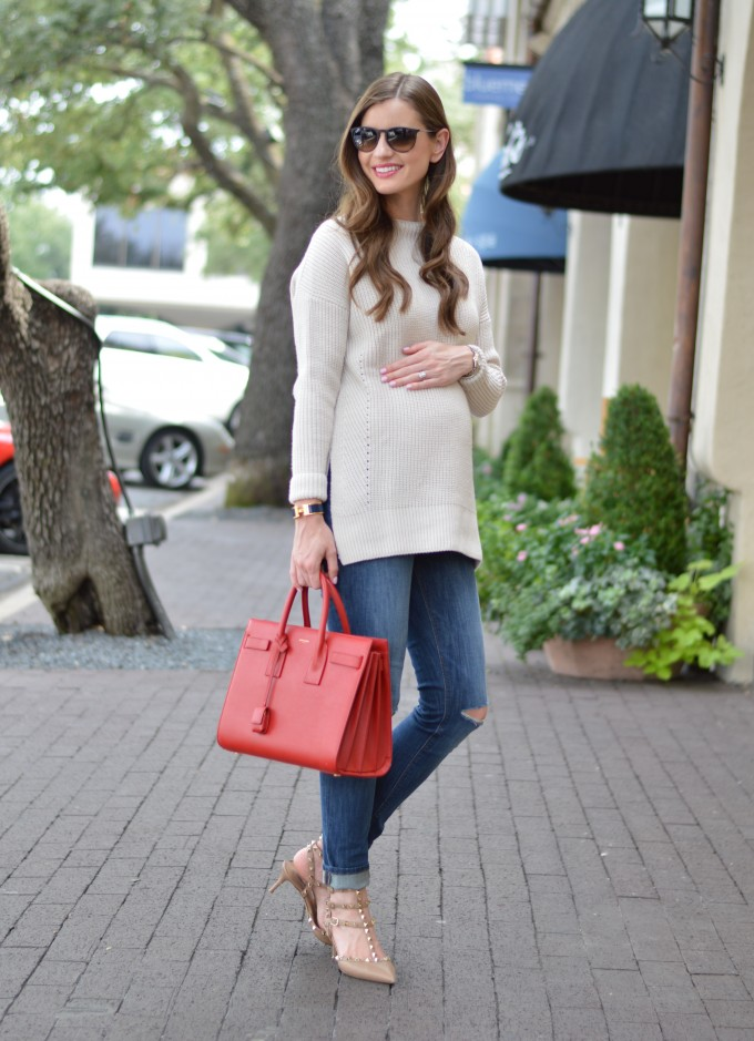 ray ban aviators, easy waves, funnel neck sweater, red handbag, valentino rockstuds