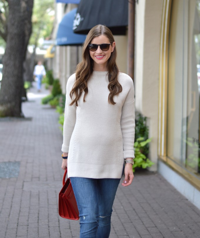 fall style, ray ban aviators, easy waves, funnel neck sweater