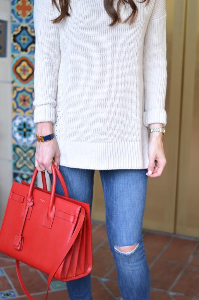 ray ban aviators, funnel neck sweater, fall style, red handbag
