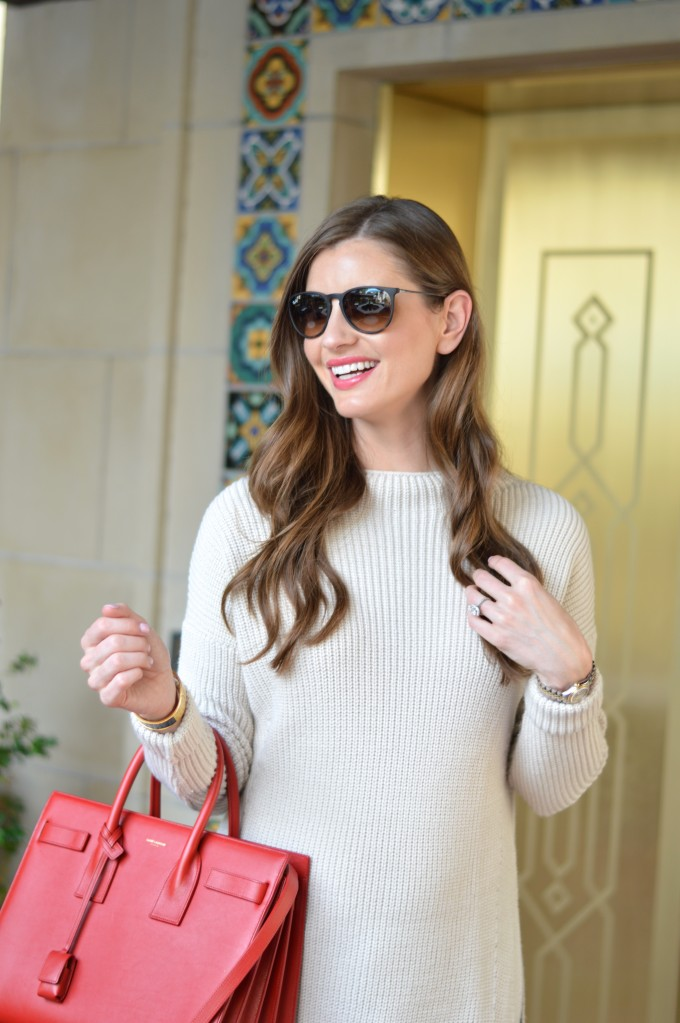 ray ban aviators, easy waves, funnel neck sweater
