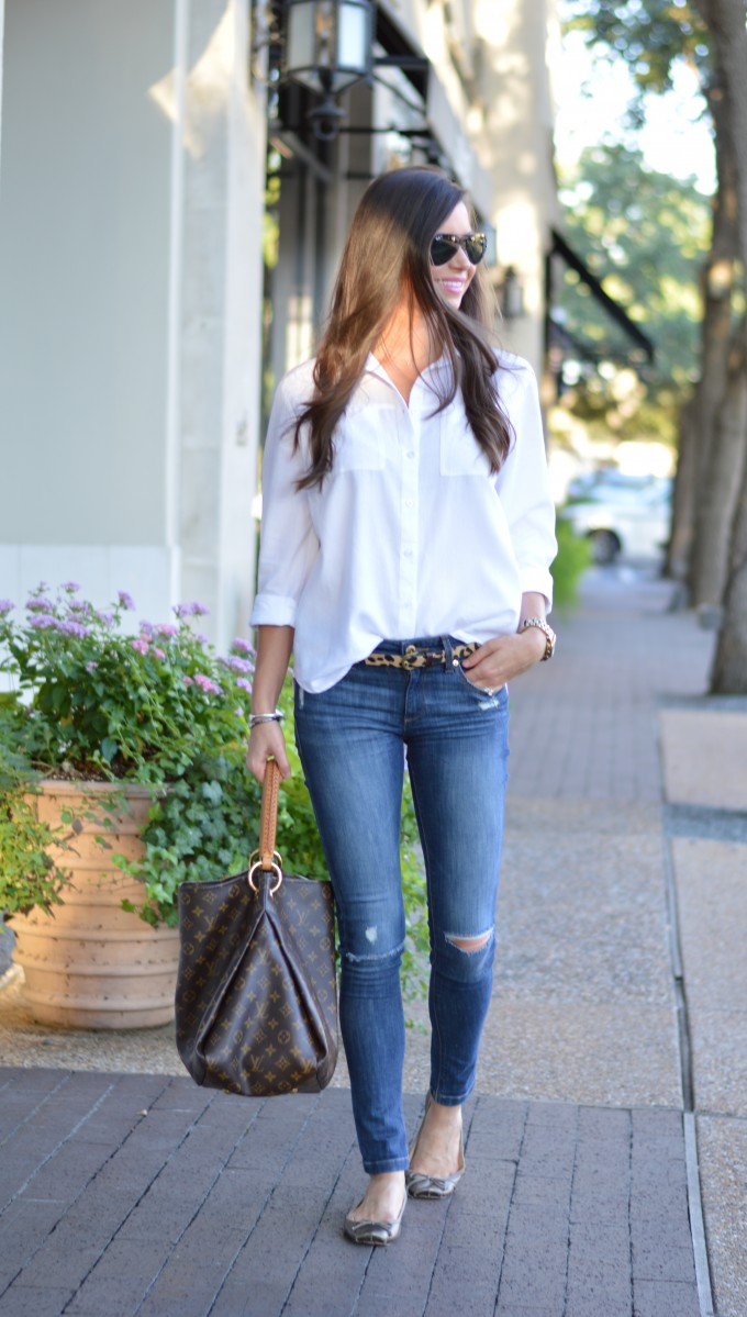 white button down and jeans