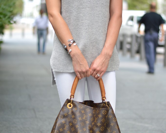 arm party, sleeveless sweater, louis vuitton handbag,