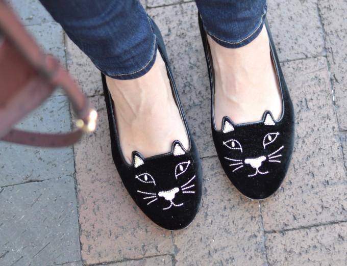 Charlotte Olympia kitty flats, black kitty flats,