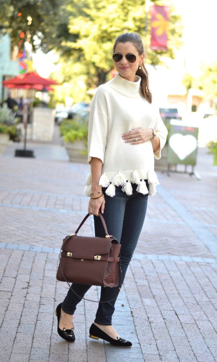 sweater with tassels, weekend uniform, casual fall outfit