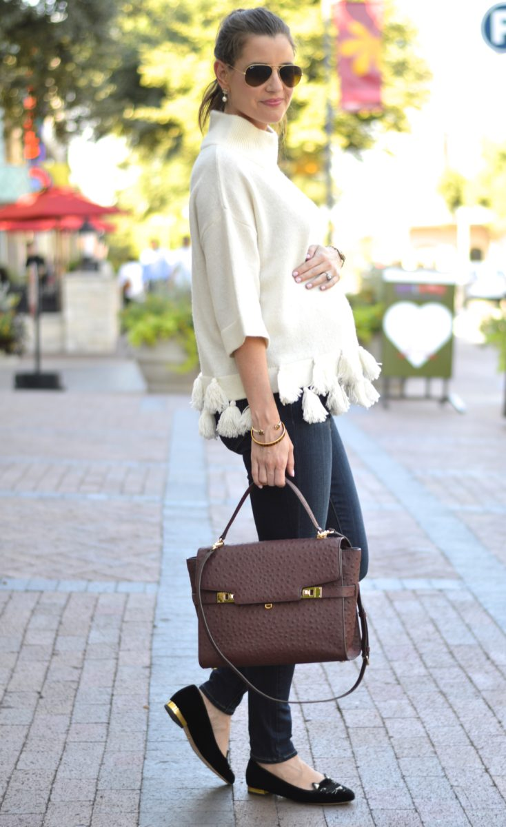 weekend uniform, wine colored handbag, ostrich satchel