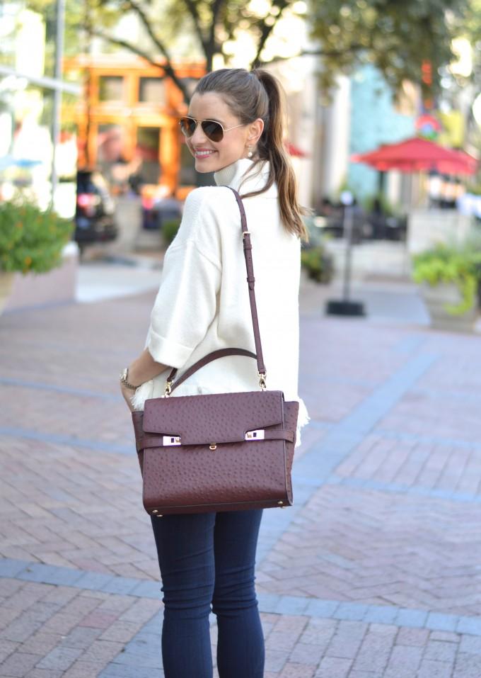 wine colored handbag, ostrich handbag, satchel handbag