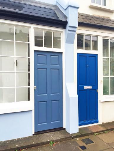 colorful streets in london, blue front door, colorful houses london