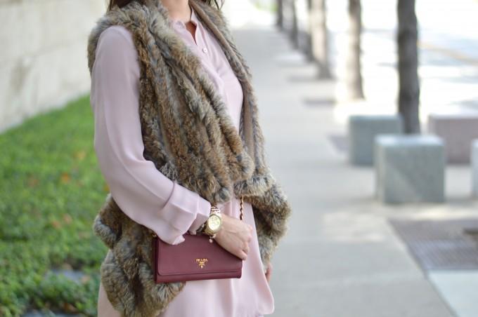 fur vest over a dress, blush pink dress for fall