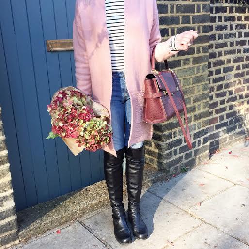 fall in london, blush pink cardigan, henri bendel ostrich satchel