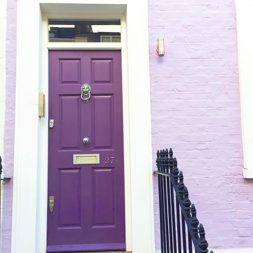 purple front door, chelsea, colorful street chelsea, london