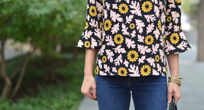 fall floral top, bell sleeve top, floral for fall