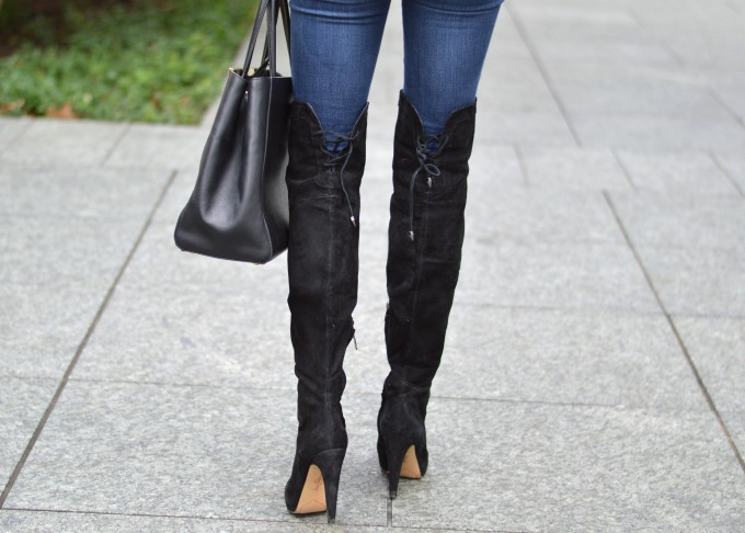 over the knee boots, black suede over the knee boots
