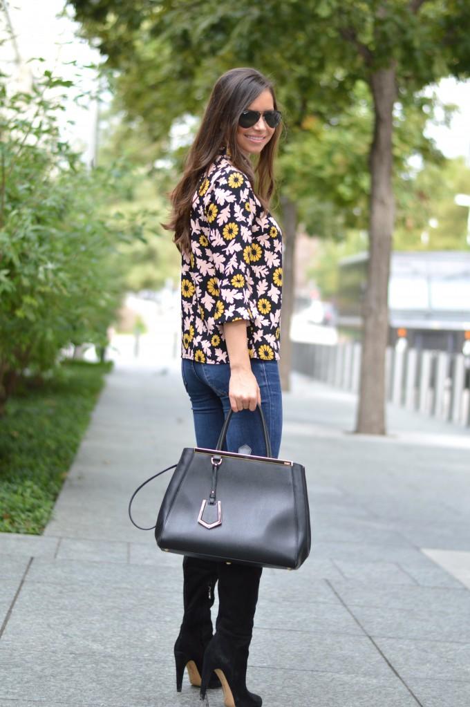 bell sleeve top, over the knee boots, black fendi handbag