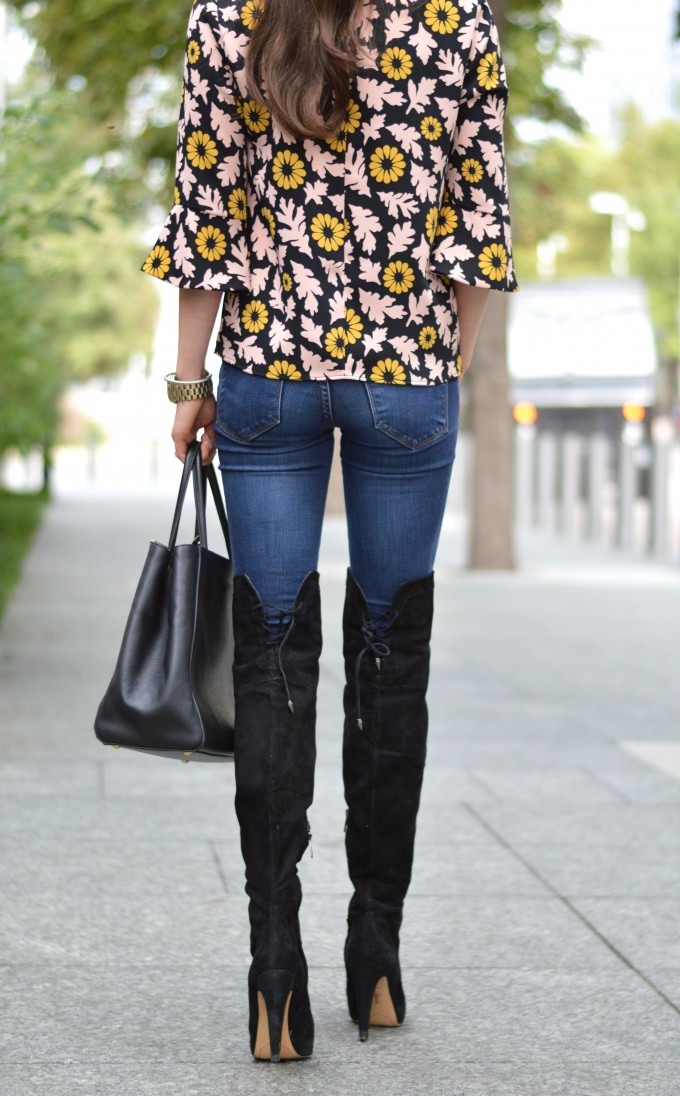 over the knee boots, fall floral top