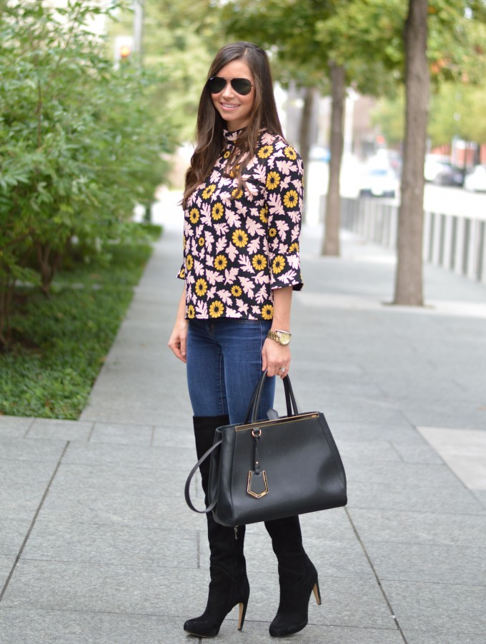 fall floral, bell sleeve top, over the knee boots