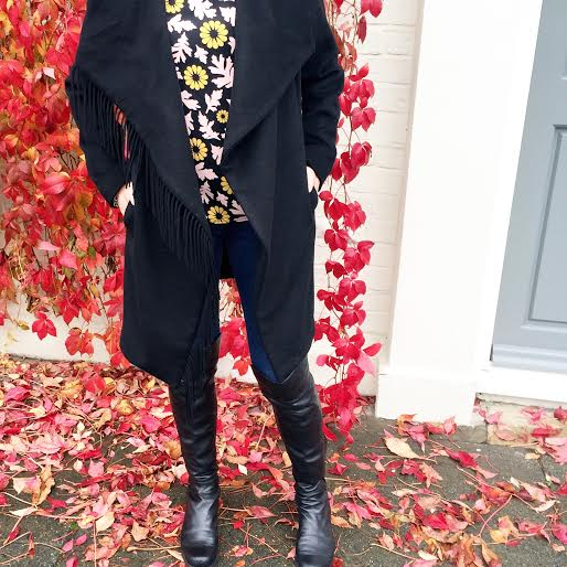 fall style, fringe coat, topshop floral