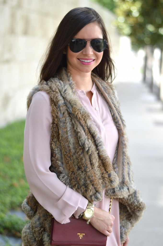 fur vest, blush pink dress