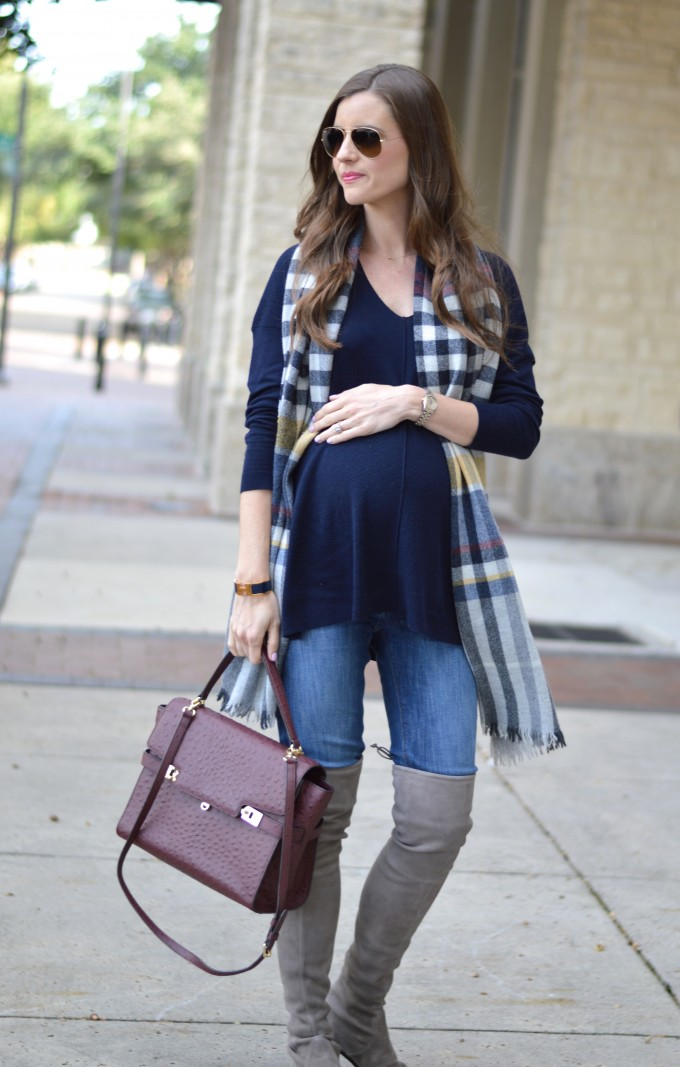 maternity style, wine colored handbag, over the knee boots, plaid blanket scarf