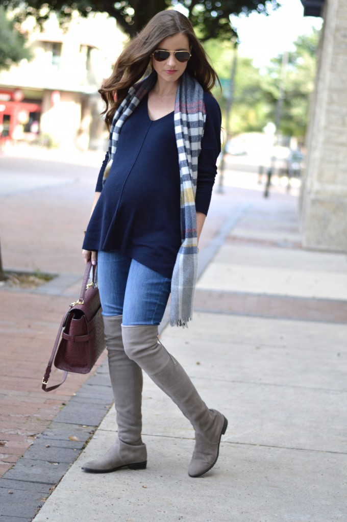 maternity style, over the knee boots, suede over the knee boots, plaid blanket scarf