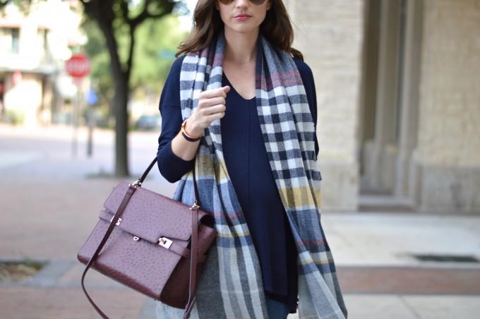 plaid blanket scarf, wine colored handbag