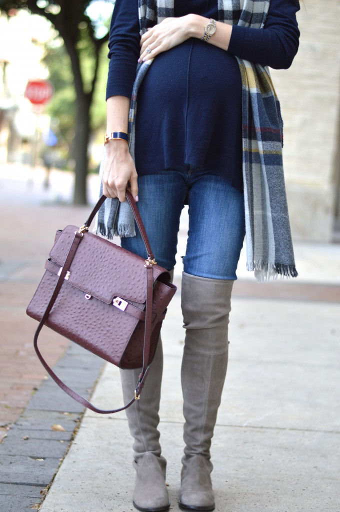 wine colored handbag, over th knee boots, plaid scarf