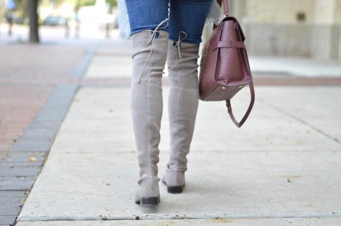 lowland boots, wine colored handbag