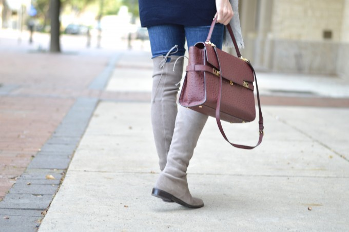 lowland over the knee boots, suede over the knee boots, maternity style