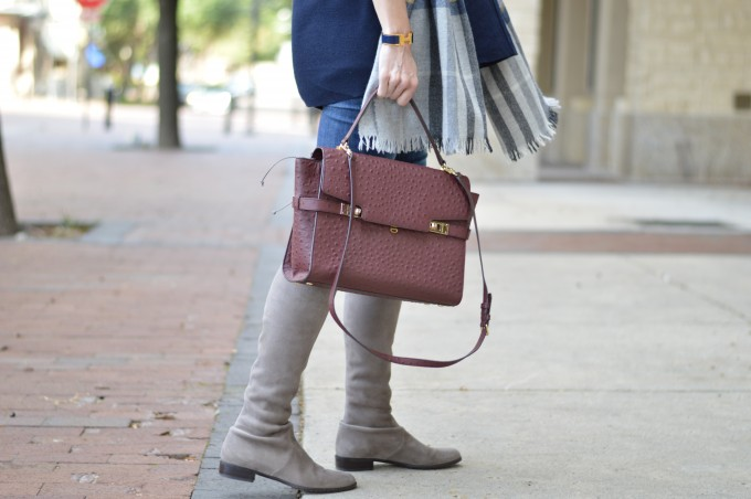 uptown satchel in ostrich, wine colored handbags, suede over the knee boots