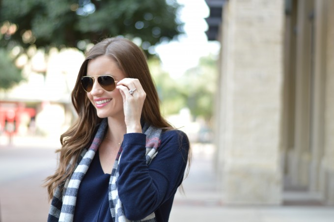 ray ban sunglasses in gold, plaid blanket scarf