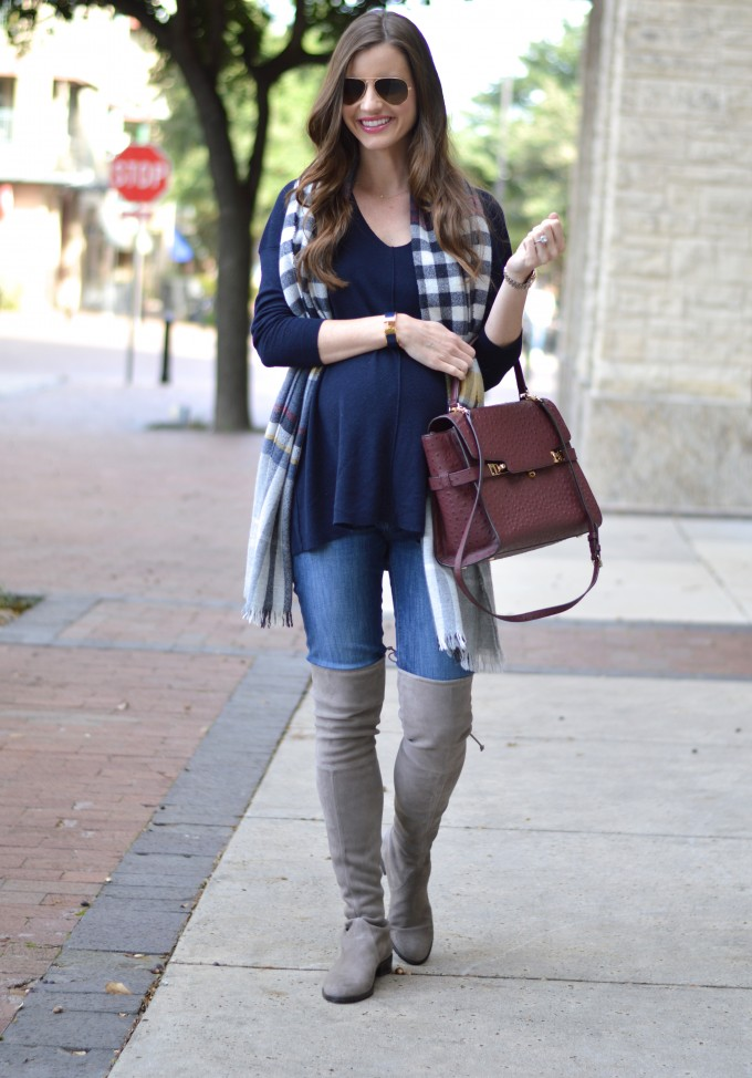 fall fashion, over the knee boots, plaid blanket scarf, Stuart Weitzman over the knee boots