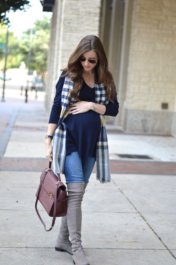 suede over the knee boots, pregnancy style for fall