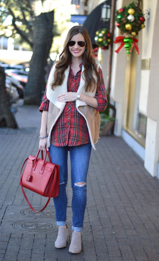 maternity style, plaid maternity top, shearling vest