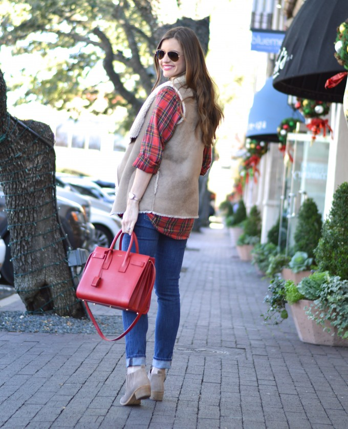 plaid for the holidays, plaid maternity top, shearling vest, red handbag