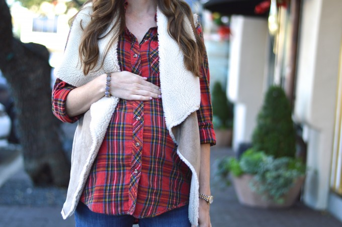 bump style, maternity style, plaid maternity top, plaid for the holidays