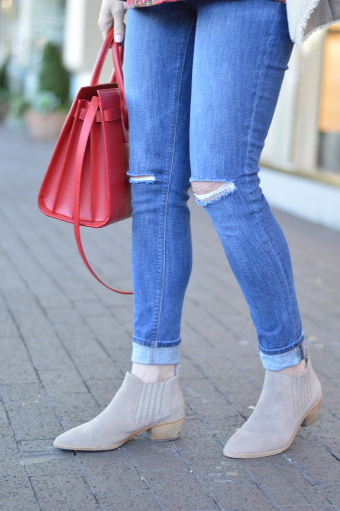 neutral suede booties, distressed maternity jeans