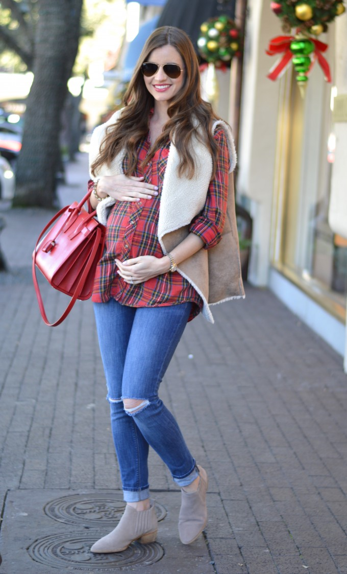 plaid for the holidays, maternity style, maternity plaid shirt