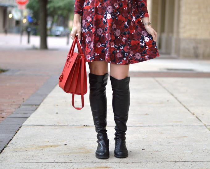 over the knee boots, red handbag, fall floral print dress