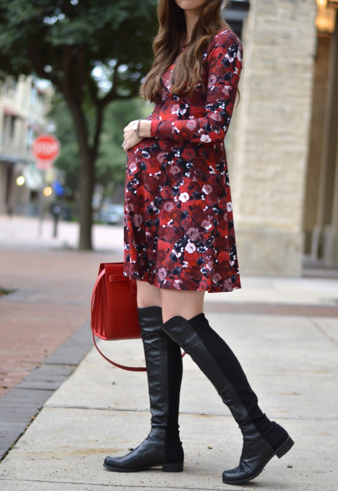 red for fall, maternity style, over the knee boots