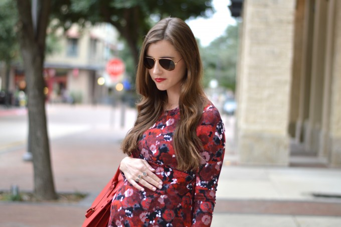 fall floral dress, maternity style