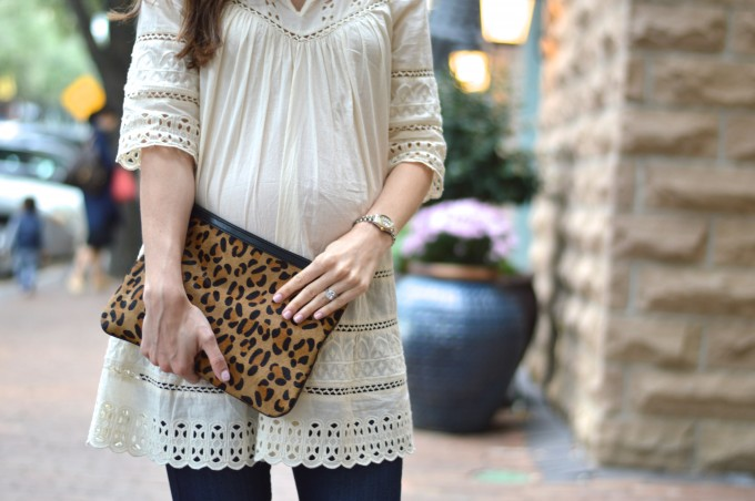 lace top for fall, leopard clutch