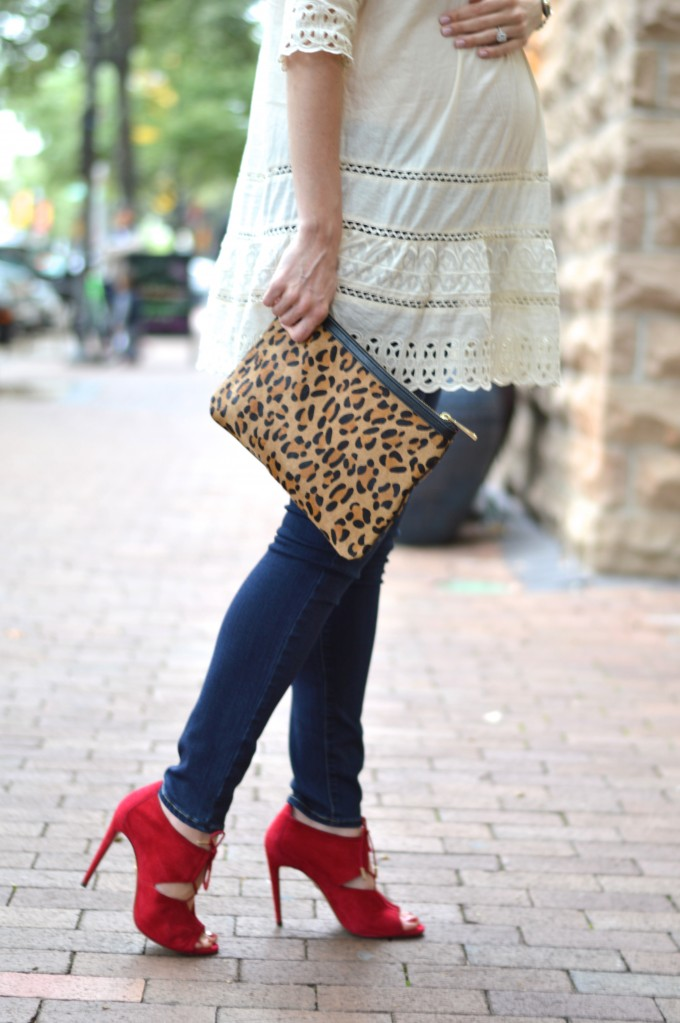 leopard clutch, skinny maternity jeans